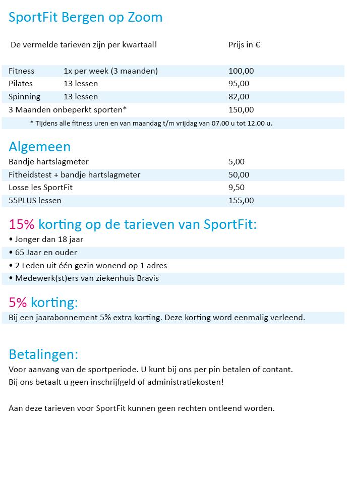 Tarieven SportFit 2016